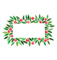 christmas ornament plant on rectangle frame vector image