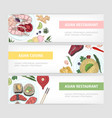 collection of web banner templates with tasty vector image vector image