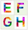 colorful polygonal alphabet slim vector image vector image
