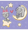 Cute Lovers rabbits vector image vector image