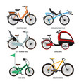 different type of bicycles for male female and vector image