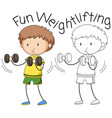 doodle boy weightlifting character vector image vector image