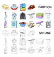 dry cleaning equipment cartoon icons in set vector image