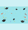graduation hats fly in sky poster graduation caps vector image