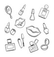 hand drawn cosmetics sketch icons vector image vector image