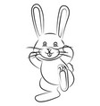 happy bunny sketch on white background vector image
