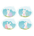 happy easter day cute rabbits with painted eggs vector image