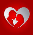 heart silhouettes loving people vector image vector image