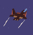 intergalactic spaceship flying in outer space vector image vector image