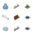 isometric city set of park decoration highway vector image vector image