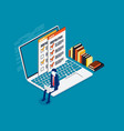 isometric online checking business vector image