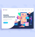 landing page template mobile advertisement concept vector image vector image