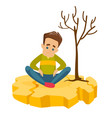man sitting on cracked earth because of drought vector image vector image