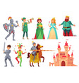 medieval characters royal knight with lance on vector image