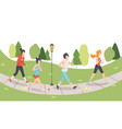 men and women running in park people doing vector image vector image