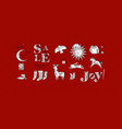 merry christmas symbols red vector image