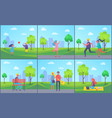 outdoors summer activities boy girl couple walking vector image