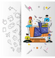 people with shopping online pop art style vector image vector image