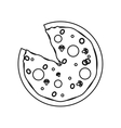 pizza fast food with salami outline vector image vector image