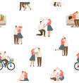 seamless pattter happy love couple vector image vector image