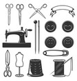 set of tailor tools and design elements design vector image