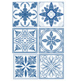 set of vintage ceramic tiles in azulejo design vector image vector image