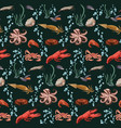 Sketch colorful marine animals seamless pattern