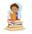 small african american boy learning and reading vector image
