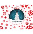 Snowmen merry christmas card vector image vector image