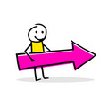 stick figure character holding an arrow vector image vector image