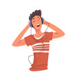teenager boy listening to music with headhones vector image vector image