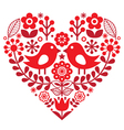 Valentines Day folk pattern with birds and flower vector image vector image