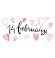 Valentines hand lettering 14 february vector image vector image