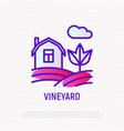 vineyard thin line icon house in fields vector image