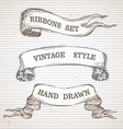 Vintage hand-drawn ribbon banners set vector image vector image