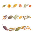 watercolor set wreath with autumn leaves vector image