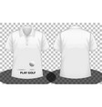 white short sleeves polo shirt with play golf vector image