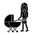 woman with baby stroller icon vector image vector image