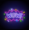 wow neon sign wow neon vector image vector image
