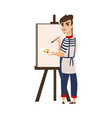 flat man artist painter drawing on easel vector image