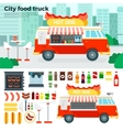 Food truck with snacks in the city vector image