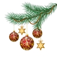 Red christmas balls on green spruce branch vector image