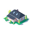 3d isometric large cozy one story house with green vector image vector image