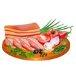 a piece and slices bacon in spices with tomato vector image