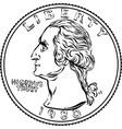 american money washington quarter 25 cent coin vector image vector image