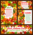 autumn maple leaf acorn and pumpkin poster vector image vector image