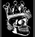 beautiful romantic skull with crown and elegant vector image vector image