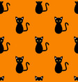 black cat seamless on orange background vector image