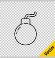 black line bomb ready to explode icon isolated on vector image vector image