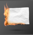 burning piece crumpled paper crumpled empty vector image vector image